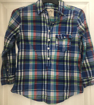 £3.90 • Buy Ladies Hollister Blue Checked Casual Shirt Size S With Tie Back