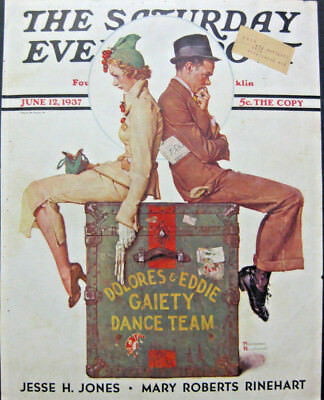 $ CDN12.17 • Buy NORMAN ROCKWELL FRAMED JUNE 1937 Saturday Evening Post COVER GAIETY DANCE TEAM