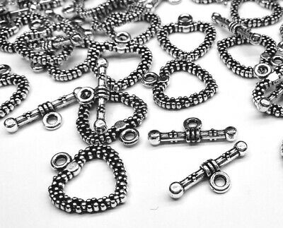 £2.50 • Buy 5 Silver Plated Heart Toggle Clasps Jewellery Making Clasps Silver Heart Toggle