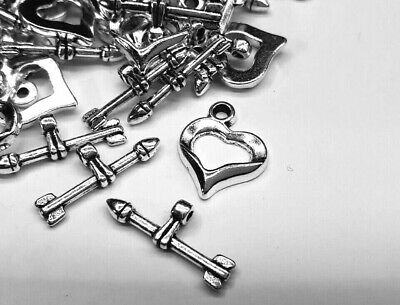 £2.50 • Buy 10 Silver Plated Heart Toggle Clasps Jewellery Making Clasps Silver Heart Toggle