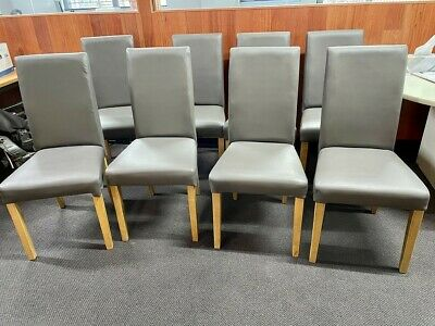 AU44 • Buy 8 Grey Synthetic Leather Dining Chairs - Recently Reupholstered To Be Like New.