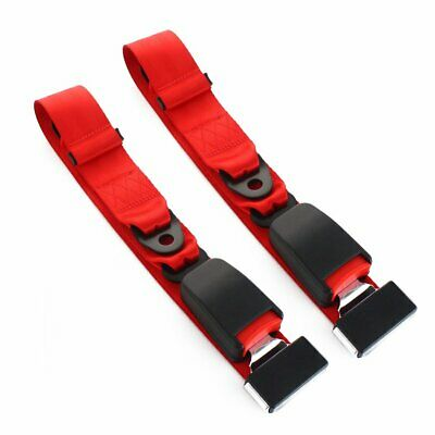 AU26.35 • Buy 2X Fit Chrysler 2 Point Harness Safety Seatbelt Adjustable Red Car Universal