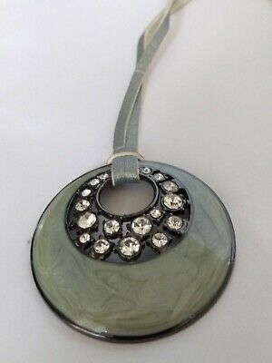 $ CDN18 • Buy Lia Sophia Enamel Polished Pendant With Crystals - Leather Necklace -both Signed
