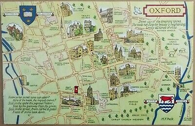 £2.50 • Buy Oxford University Colleges, Map, Drawn Images, Colour Postcard, Unposted