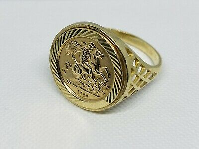 £159 • Buy Hallmarked 375 9ct Genuine Yellow Gold St George Sovereign Coin Ring 18mm Size N