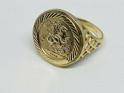 £159 • Buy 375 Solid 9ct Genuine Yellow Gold St George Sovereign Coin Ring 18mm Size P