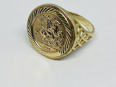 £159 • Buy 375 Solid 9ct Genuine Yellow Gold St George Sovereign Coin Ring 18mm Size Q
