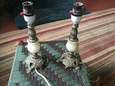 £45 • Buy 2 A Pair Of Brass Onyx Vintage Table Desk Bedside Lamps