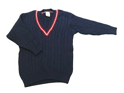 $50 • Buy LAURA ASHLEY, One Size, Men's Navy Blue Cable Cricket Sweater, 100% Wool