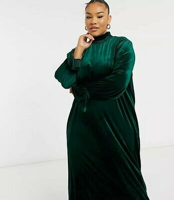 AU25 • Buy Plus Size Dress Velvet  'Native Youth' ASOS Curve Soft, Stretch Velvet  26 AU