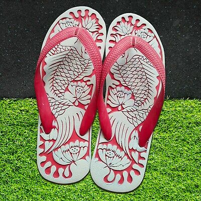 $ CDN60.45 • Buy Hand Carved Unisex Flip Flops | Comfortable Adult Sandals | Fish And Lotus