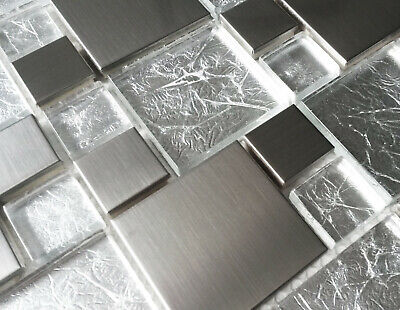 £8.98 • Buy New Luxury Brushed Steel Metal & Light Foil Glass Silver Grey Mosaic Wall Tiles