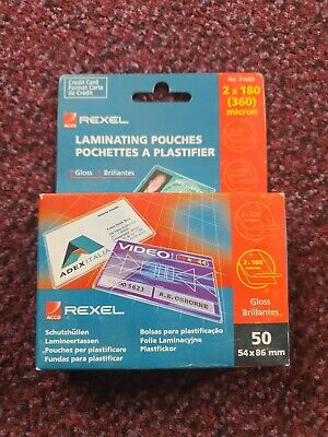 £19.99 • Buy Rexel Laminating Pouches 50's 54x86mm (Credit Card Size)
