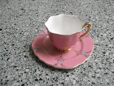 Pink With Gold And Blue Detail Vintage Bone China Tea Cup And Saucer Set • 19.99£