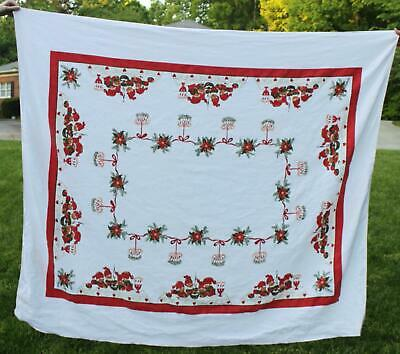 $ CDN36.38 • Buy Vintage Christmas Tablecloth Elves Cooking Nordic Swedish Hearts L1