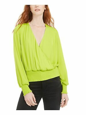 AU6.42 • Buy BAR III Womens Green Long Sleeve V Neck Crop Top Party Top Size: S