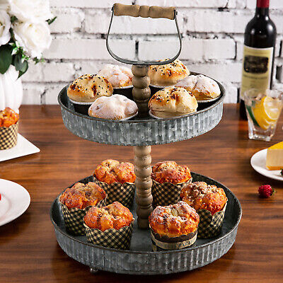 MyGift 2 Tier Rustic Galvanized Metal Cupcake Dessert Display Stand With Handle • 25.03£
