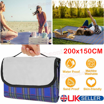 NEW Extra Large Waterproof Picnic Blanket Travel Outdoor Beach Camping Soft Rug • 6.59£