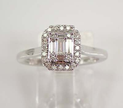 AU1086.34 • Buy White Gold Emerald Cut Diamond Halo Engagement Ring Cluster Solitaire Size 6.75