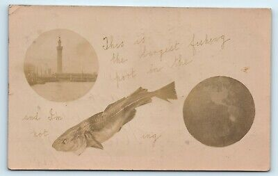 £10 • Buy Postcard Grimsby Dock Tower Humour Card Fish Rebus H Shaw 1907 Local Studio