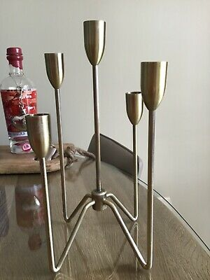 £14.99 • Buy Contemporary 5 Arm Candleholder Brushed Brass Stunning Table Decor