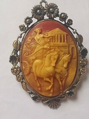 Large Vintage Costume Ornate Cameo Brooch • 3£