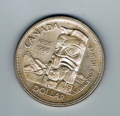 1958 Canada Silver One Dollar $1 Coin : 23.4g : British Columbia • 12.71£