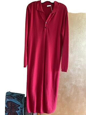 AU3.87 • Buy NWT Joan Vass Women's Red Cotton Knit Long Sleeve Maxi Dress Size 1
