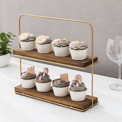 MyGift 2 Tier Brass Metal Wire And Burnt Wood Cupcake And Dessert Riser Stand • 25.03£