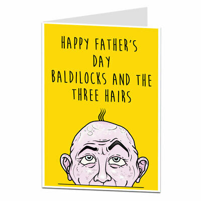 £2.99 • Buy Funny Rude Happy Fathers Day Card For Dad Bald Joke Design