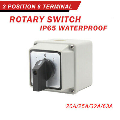 £13.61 • Buy LW26-20-63 32A 3-Position Rotary Selector Universal Rotary Cam Changeover Switch