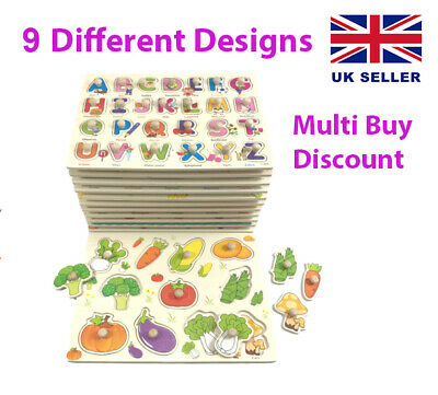 £4.89 • Buy Children's Wooden Numbers Alphabet Animals Vegetables Vehicles Peg Board Puzzles