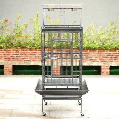 Extra Large Metal Parrot Aviary Bird Pet Play Top Cage SlideOut Tray Perch Stand • 135.95£