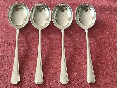 £14.99 • Buy Great Set Of 4 Silver Plated Mappin & Webb Athenian Soup  Spoons 17.75cm