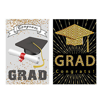 $10.41 • Buy 2Pcs Party Supplies Garden Polyester Backdrops Banners For Graduation