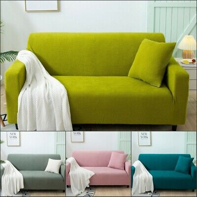 £15.58 • Buy Thick Corn Kernels Sofa Cover Solid Color Stretch Fabric Sofa Dust Cover