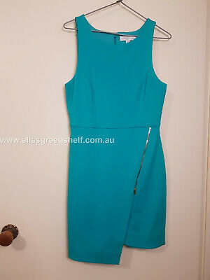 AU12 • Buy Forever New BNWT New With Tags Size 10 Teal Knit Dress Zip Wrap Kylie Turquoise