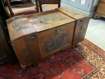 Chinese Carved Camphor Wood Trunk / Coffer / Blanket Box  • 125£