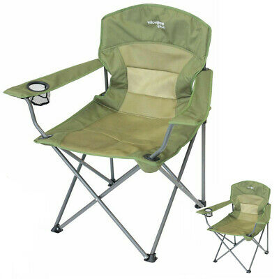 £13.95 • Buy New Green Folding Camping Chair Heavy Duty High Back Directors Cup Holder Hiking