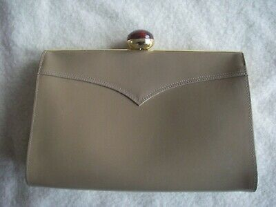 Eros Vintage Camel Coloured Leather Clutch Bag With Mock Amber Clasp  • 8£