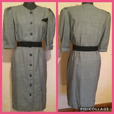 Vintage 1980s Dress Wiggle Power Fitted Grey Size 10 12 & Pockets ! • 8£
