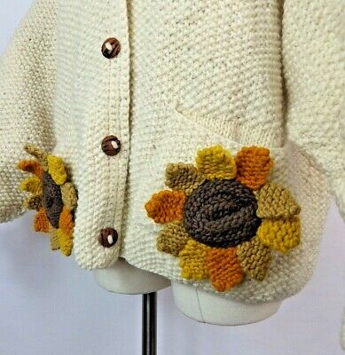 Vintage 90s Pachamama Sunflower Boho 3D Chunky Hand Knit Wool Cardigan XL 20 22 • 84.99£