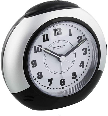 £13.86 • Buy Black & Silver Alarm Clock With Silent Sweep No Ticking Feature Plus Snooze &