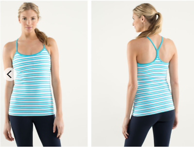 $ CDN5.14 • Buy Lululemon Power Y Tank Top*Luon Twin Stripe Sz 4 Pre-owned EUC 13.5  Bust 23 L
