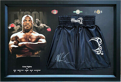 AU849 • Buy Mike Tyson Hand Signed Boxing Trunks Framed With LGM Online COA Photo Proof