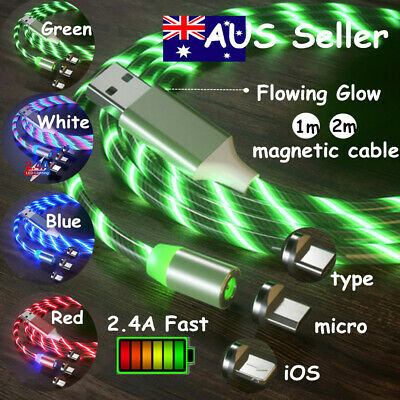 AU6.69 • Buy Magnetic Flowing Glow LED Fast Charger Micro USB C IOS Cable For IPhone 8 7 X AU