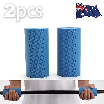 AU17.59 • Buy 1Pair Thick Fat Barbell Silicone Grips Gym Arm Wrap Bar Dumbbell Grip Weightlift
