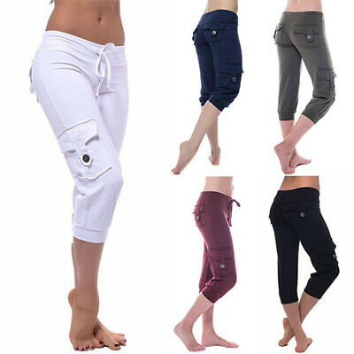 AU19.89 • Buy Womens Drawstring Yoga Gym Fitness Pants Casual Loose Calf Length Sport Trousers