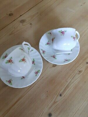 Fine Bone China Ditsy Rose 2 X Matching Teacups  And Saucer • 1.70£