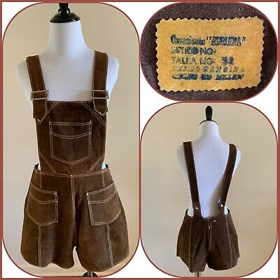 AU63.76 • Buy 70s Mexican Suede Romper Carpenter Overalls Western Boho Farm Booty Shorts VTG
